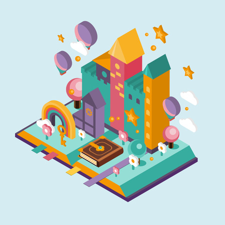frog queen: Open Book with set of vector fairy tale elements, icons and illustrations isometric