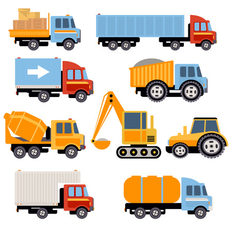 dump body: Trucks and tractors set. Flat style vector icons.