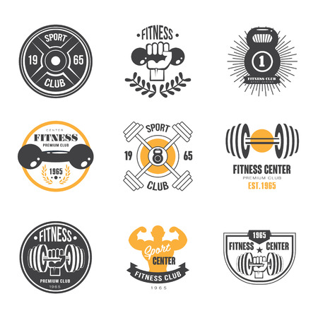 Sport and Fitness Logo Templates, Gym Logotypes, Athletic Labels and Badges