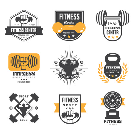 circular muscle: Sport and Fitness Logo Templates, Gym Logotypes, Athletic Labels and Badges