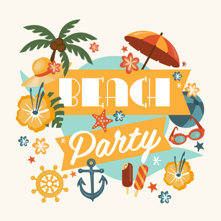 holiday gathering: Beautiful beach party design element with palms, beach items, music notes and more. Ideal for seasonal event poster, web banner or invitation