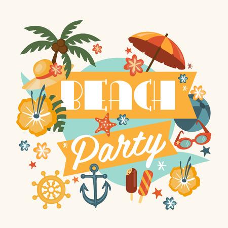 Schönes Designelement Strandparty mit Palmen, Strandartikel, Musiknoten und mehr. Ideal zur saisonalen Veranstaltung Plakat, Web-Banner oder Einladung