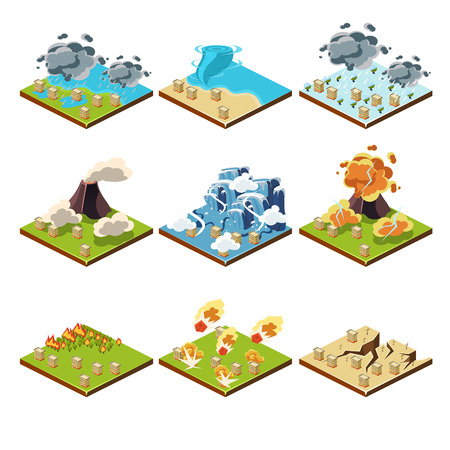 Isometric representation of natural disaster vector illustration set
