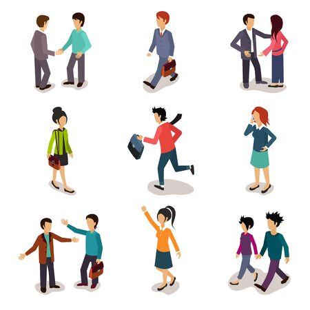family discussion: Several people Isometric 3d, Vector illustration set