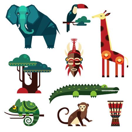 lion dessin: Géométrique plat Afrique animaux et les plantes vecteur Illustration