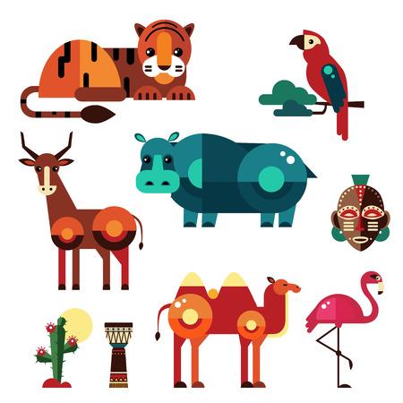 Geometrische platte Afrika dieren en planten vector Stock Illustratie