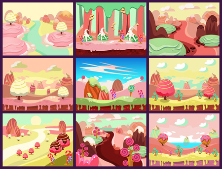 cartoon cake: Cartoon fairy tale landscape. Candy land illustration for game background Illustration