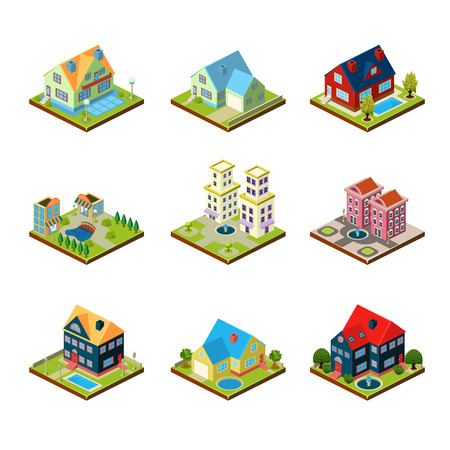 condominium: Private house real estate decorative 3d isometric isolated vector illustration