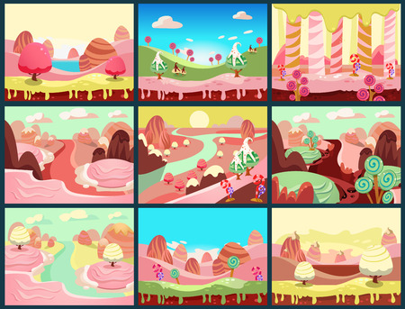 Cartoon fairy tale landscape. Candy land illustration for game background Illustration