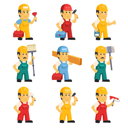Technician , working a set of people with different construction objects vector illustration