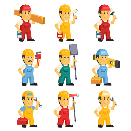 handyman: Technician , working a set of people with different construction objects vector illustration