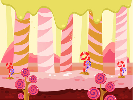 tale: Cartoon fairy tale landscape. Candy land illustration for game background Illustration