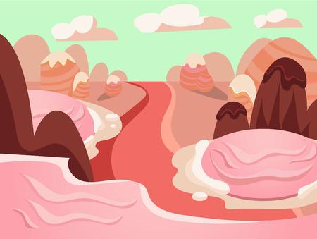 never ending: Cartoon fairy tale landscape. Candy land illustration for game background Illustration