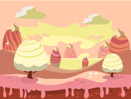 Cartoon fairy tale landscape. Candy land illustration for game background 向量圖像