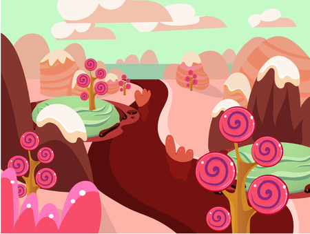 never ending: Cartoon fairy tale landscape. Candy land illustration for game background Illustration