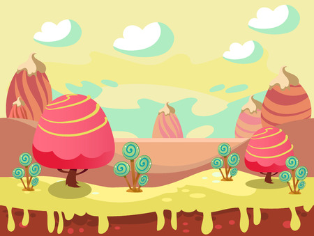 Cartoon fairy tale landscape. Candy land illustration for game background Иллюстрация