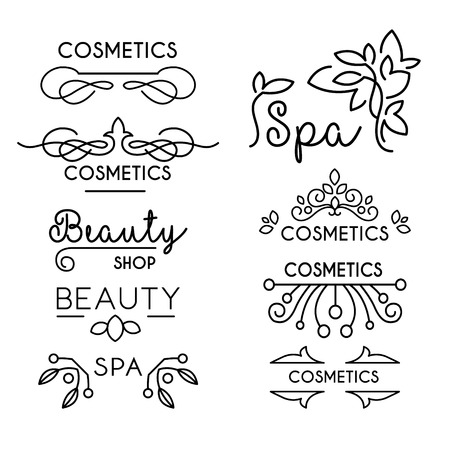 natural beauty: Vector Beauty and Care logo templates set