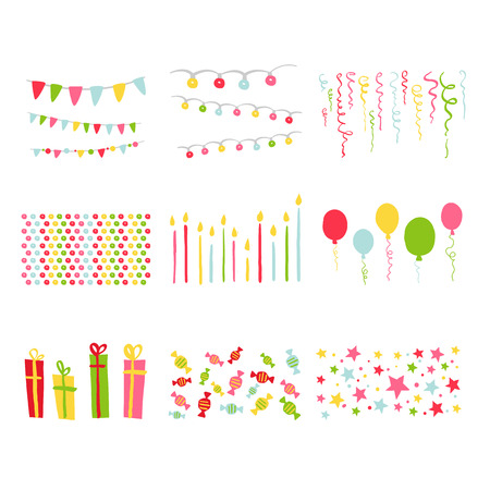 Scrapbook Design Birthday Party elementen set in vector
