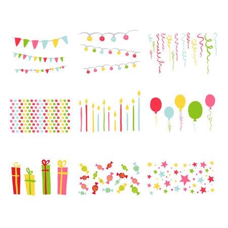marco cumpleaños: Scrapbook Diseño Fiesta de cumpleaños elementos establecidos en el vector