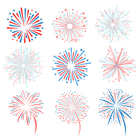 Fireworks vector illustration set for registration cards and packaging