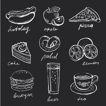Menu icons food hand-drawn chalk on a blackboard Vectores