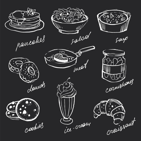 bocetos de personas: Menú iconos tiza dibujado a mano alimentos en una pizarra