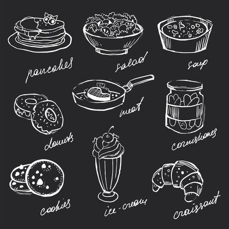 křída: Menu ikony potravin ručně kreslená křídou na tabuli