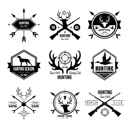 Badges Labels Logo Design Elements Stock Vector Handmade hunting authentic hand-drawn graphics Ilustração
