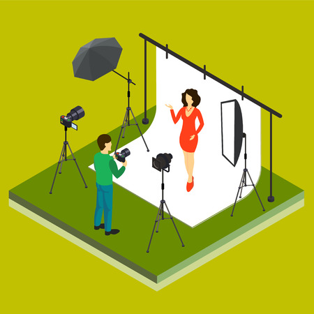 portrait young girl studio: Photographer shooting model in studio flat isometric 3d style vector illustration.