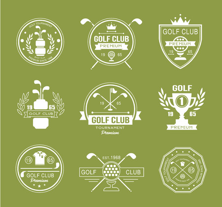 tee: Set of golf club logos, labels and emblems vector