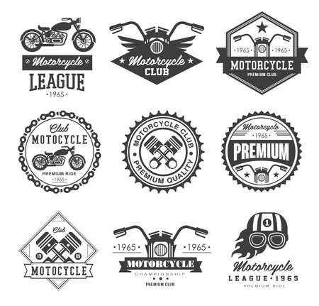 klubok: Badges, emblems Motorcycle Collections vector logo set