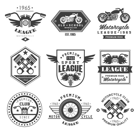 Badges, emblemen Motorcycle Collecties vector logo set Stock Illustratie