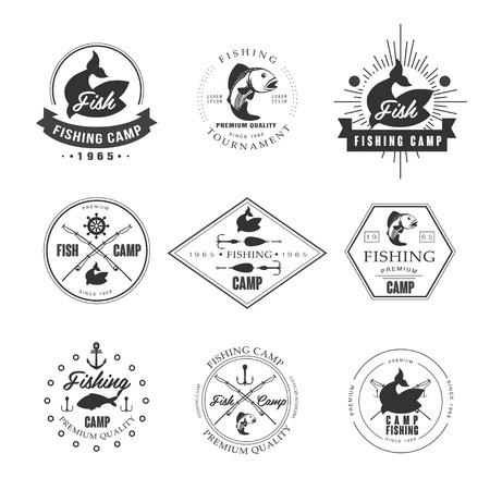 logo poisson: Emblèmes de pêche au brochet Vintage, des étiquettes et des éléments de conception vecteur