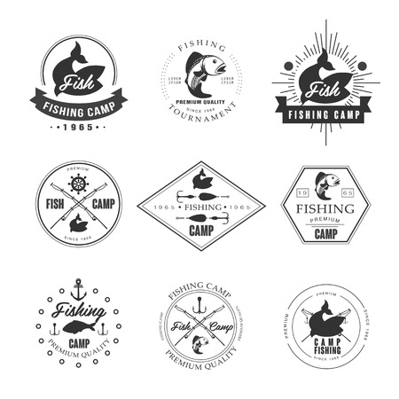 fish rod: Vintage pike fishing emblems, labels and design elements vector