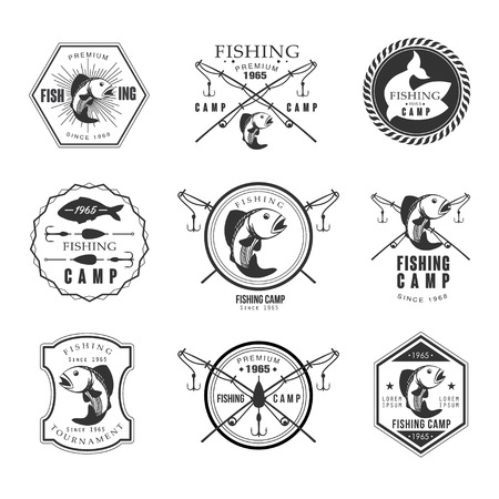 Vintage pike fishing emblems, labels and design elements vector