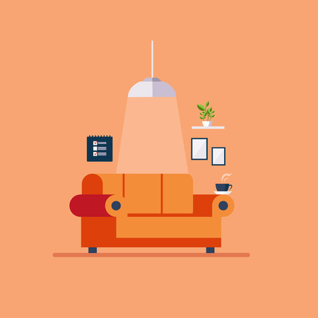 lifestyle dining: Living room Flat style vector illustration set