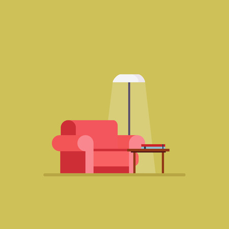 interior decoration: Living room Flat style vector illustration set