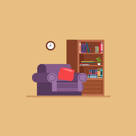 inside house: Living room Flat style vector illustration set