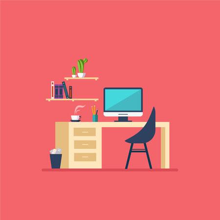 work on the computer: Illustration of  modern workplace in room Flat minimalistic style
