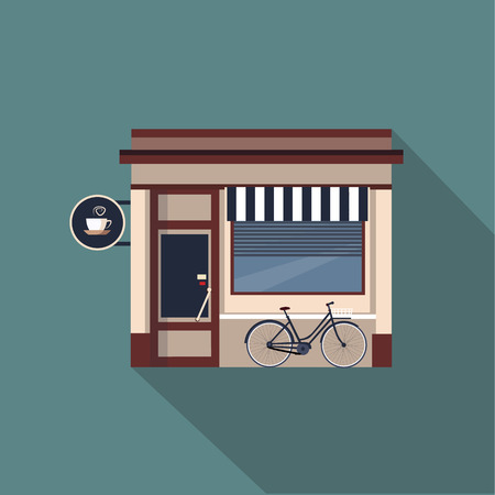 Restaurants and shops facade, storefront vector detailed flat design Stock fotó - 42730130