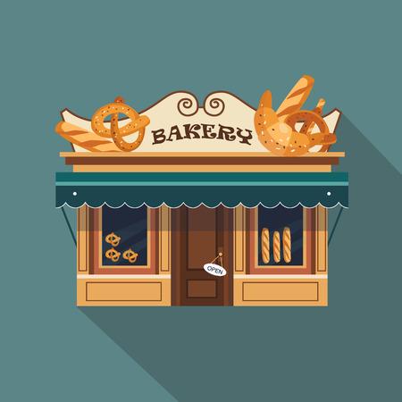 Restaurants en winkels gevel, storefront vector gedetailleerd plat ontwerp