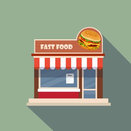 tiendas de comida: Restaurantes y tiendas de fachada, escaparate vectorial detallado dise�o plano Vectores