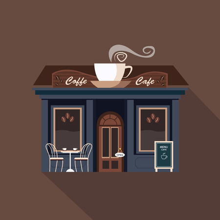 small town: Restaurants and shops facade, storefront vector detailed flat design