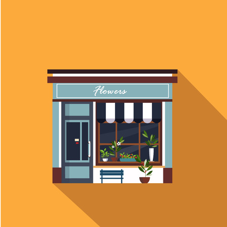 storefront: Restaurants and shops facade, storefront vector detailed flat design