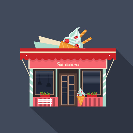 레스토랑과 상점 외관, 점포 벡터 자세한 플랫 디자인
