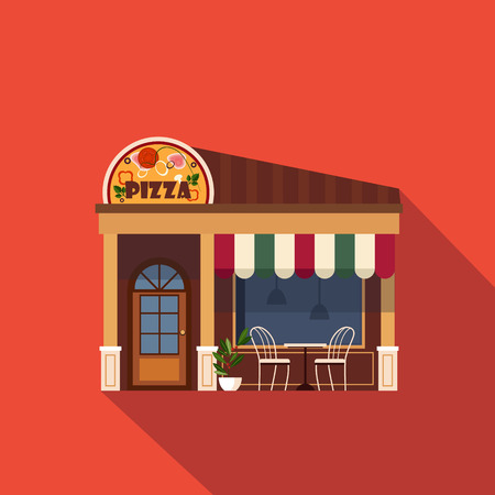 Restaurants and shops facade, storefront vector detailed flat design
