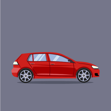 Vector red car flat style illustration concept