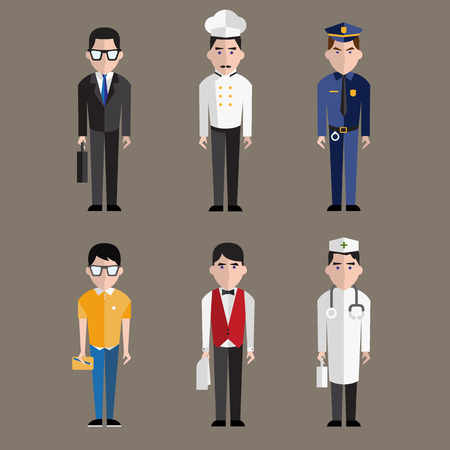 enfermera caricatura: Diferentes personas Profesiones personajes establecen vector de concepto