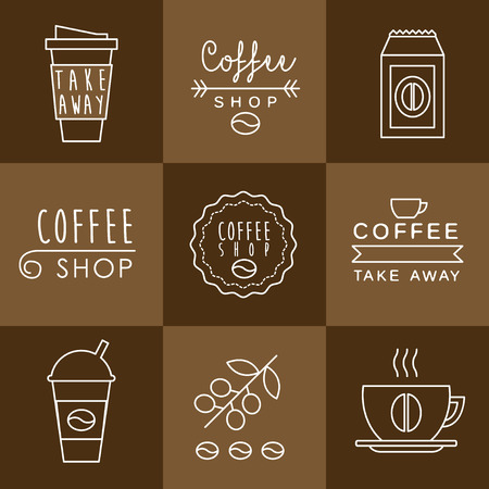 coffee houses: Coffee design set, templates for coffee houses and shops, coffee to go signs and badges