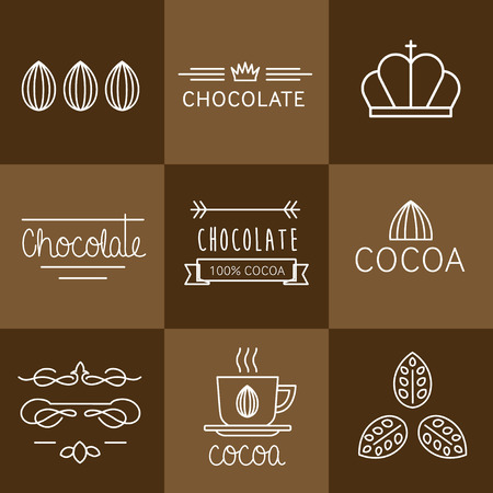 Cacao Icon, tekenen en badges chocolade